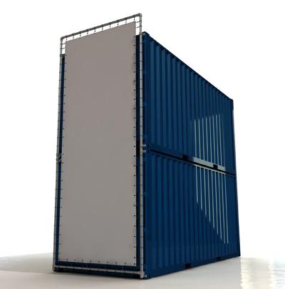 Containerframe korte zijde op 2 gestapelde containers (boven & onder), incl. doek en elastieken.