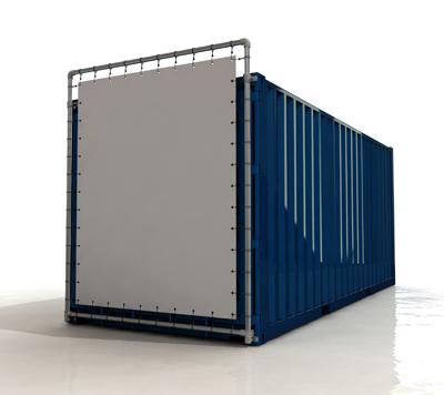 Containerframe korte zijde enkel, incl. doek en elastieken.
