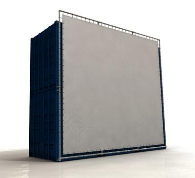 Containerframe lange zijde op 2 gestapelde containers (boven & onder), incl. doek en elastieken.