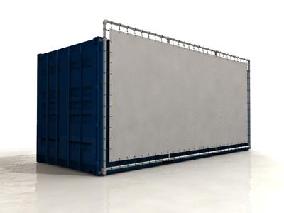 Containerframe lange zijde enkel, incl. doek en elastieken.