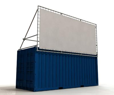 Containerframe lange zijde boven container uit, incl. doek en elastieken.