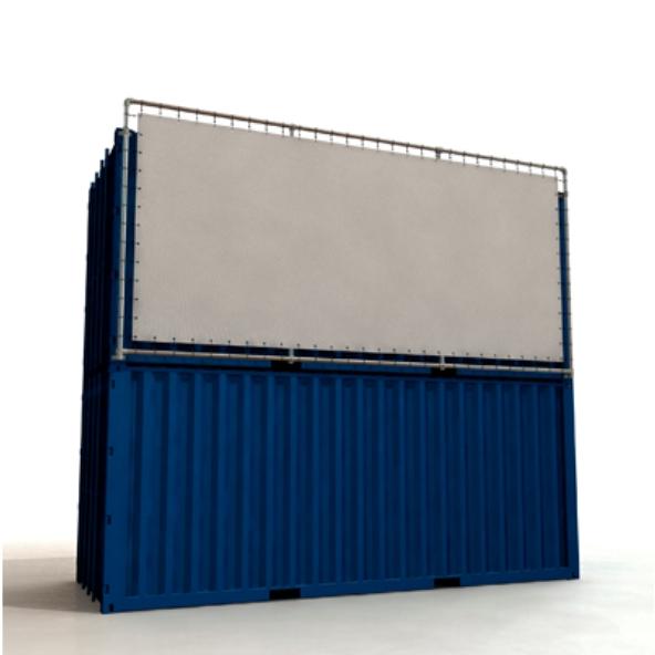 Containerframe lange zijde op 2 gestapelde containers, incl. doek en elastieken.