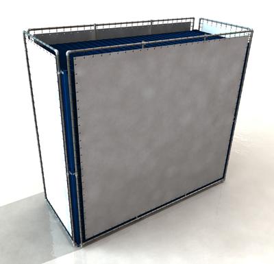 Containerframes Rondom op 2 gestapelde containers, incl. doek en elastieken.