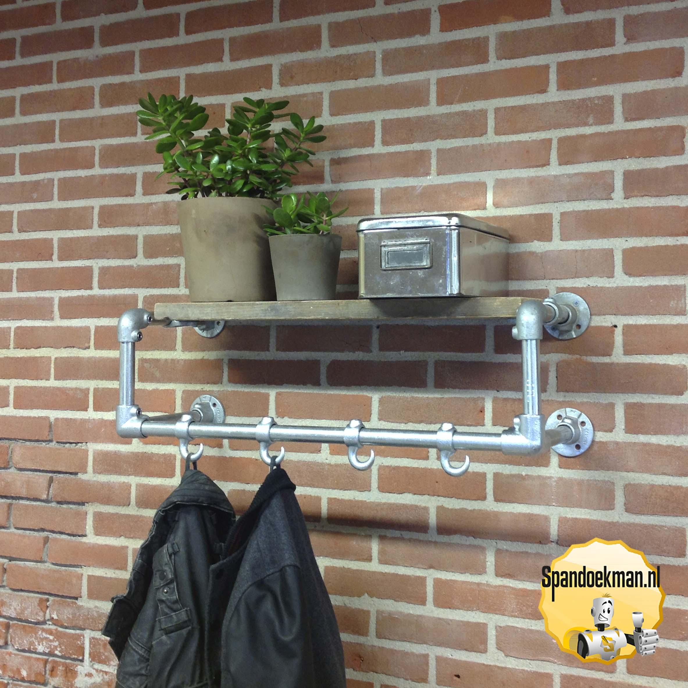 Steigerbuis Kapstok Wandmodel 2 Standaard Met Houten Plank 337mm