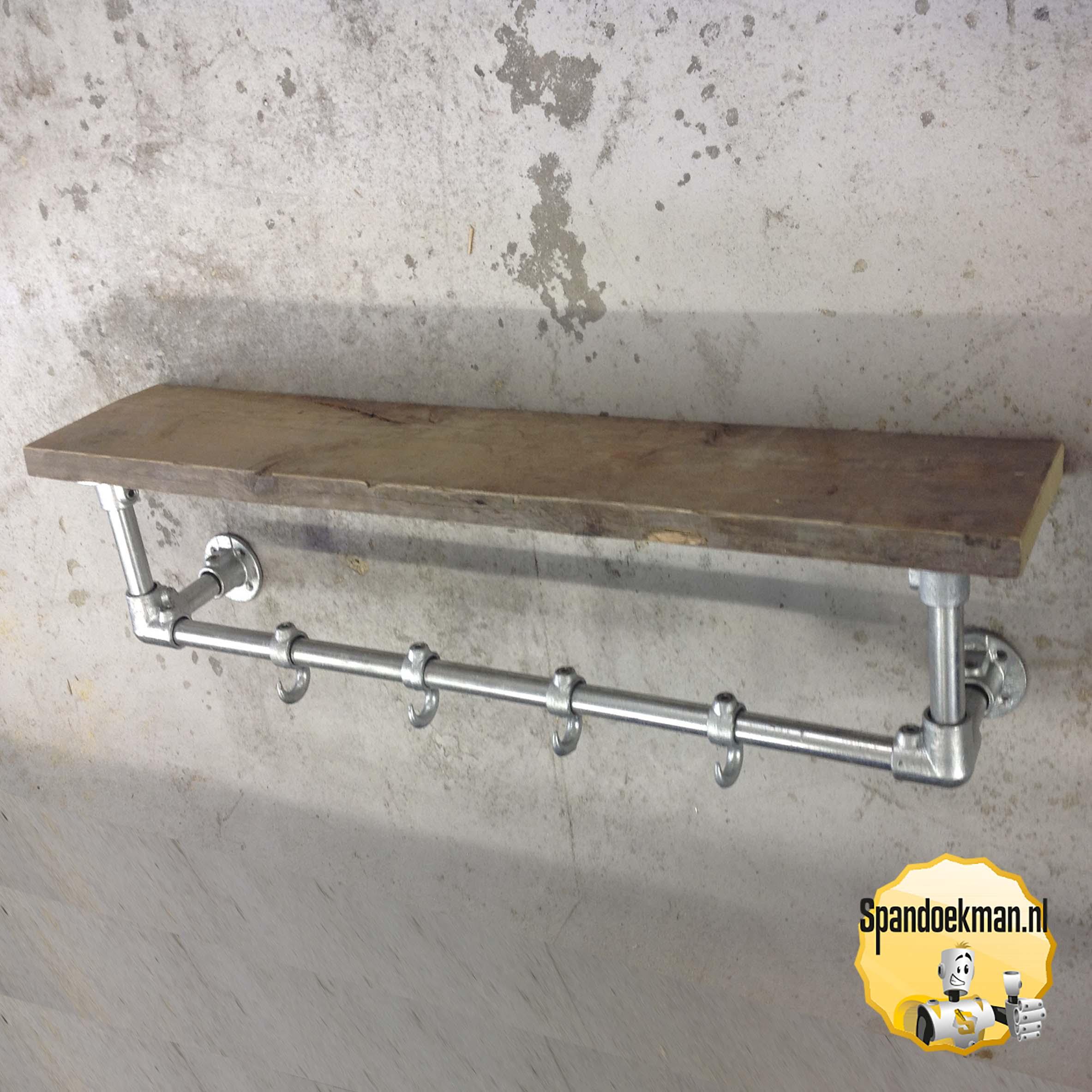 Steigerbuis Kapstok Wandmodel 3 Standaard Met Houten Plank 269mm