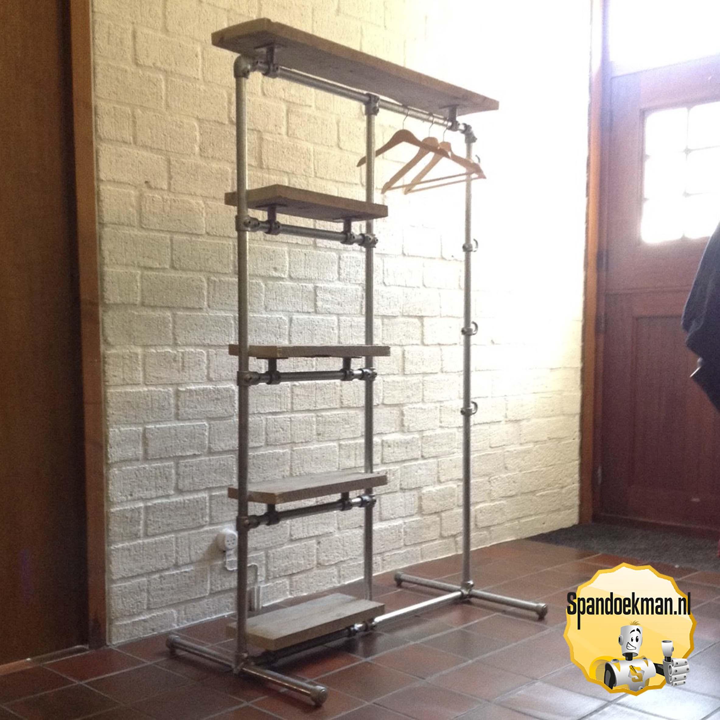 Kledingrek Hang Hoog En 4x Leg 100x160x60cm 5 Planken En